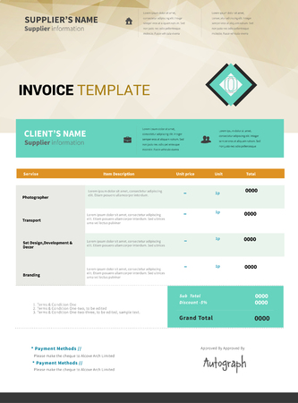 receivable: Invoice template vector design Illustration
