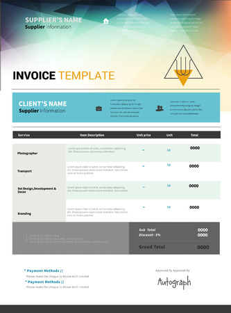 Colorful Invoice template desing