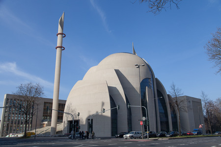 innere: Cologne, Germany - March 8th, 2014  Complete view of the Mosque  The Cologne Central Mosque is built since 2009 and is a local controversial issue  Parts are not ready for the public, but the religious community can get together