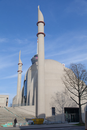 innere: Cologne, Germany - March 8th, 2014  The Cologne Central Mosque is built since 2009 and is a local controversial issue  Parts are not ready for the public, but the religious community can get together  Editorial