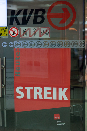 Cologne, Germany - March 27, 2014  Sign at a station about the strike  This strike was organised by ver di  They are a large German trade union with 2 2 million members