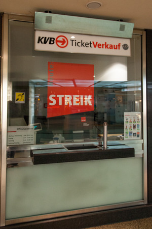 Cologne, Germany - March 27, 2014  Sign at a ticket shop about the strike  This strike was organised by ver di  They are a large German trade union with 2 2 million members