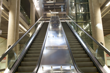 sub station: Cologne, Germany - March 27, 2014  Escalator at Station Heumarkt in Cologne  New and modern subway station  Heumarkt  in Cologne  The sub levels are combined through elevators and escalators  Architect is Ulrich Coersmeier  Editorial