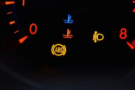 telltale: ABS light in car.Car dashboard in closeup