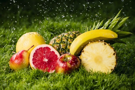 Fresh fruits in the rain  photo