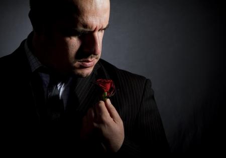 Portrait of man, godfather-like character