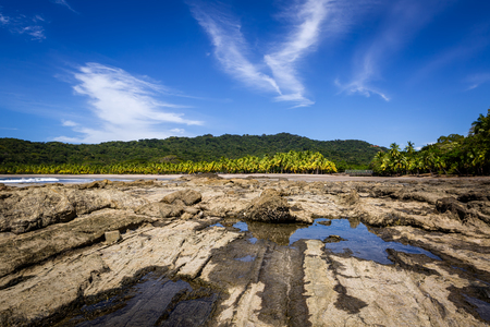 Beautiful landscape of rocks and palm trees on the Carrillo beach, Costa Rica, Guanacaste.