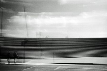 Unreliable photography of an urban scene Stock Photo