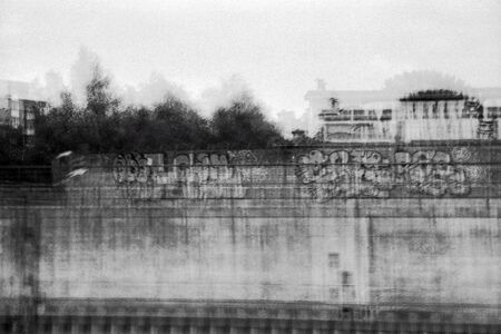 Multiexposure blurred black and white photography of an urban landscape Imagens