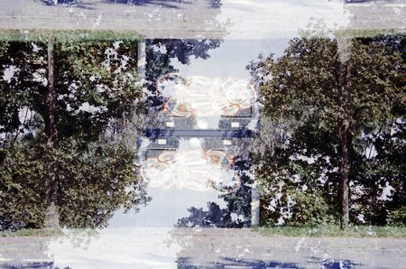 Mirrored analog double exposure photography of an industrial landscape with industrial buildings Stok Fotoğraf