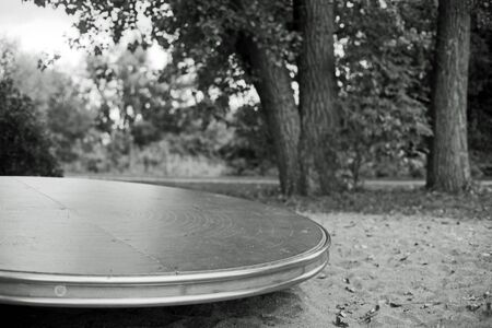 Black and white analog photography of a playground in a park with a great turntable.