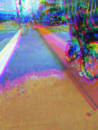 Photograph of a cyclist passing on a footpath, edited with video fx.