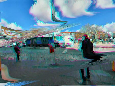 Photograph of pedestrians passing on a footpath, edited with video fx.