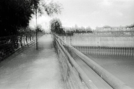 Multiexposure blurred black and white photography of an urban landscape Stock Photo