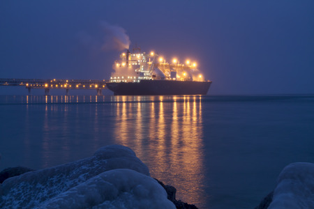 liquefied: A liquefied gas carrier loaded at the dock