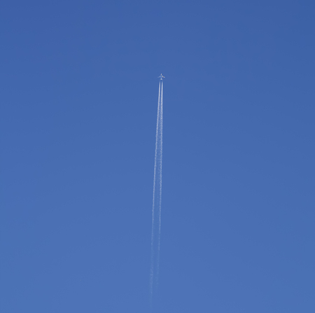 trace: White airplane trace, blue sky