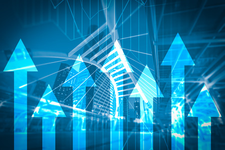 the abstract image of the skyscraper image overlay with business chart image. the concept of accounting, financial, economy and investment.