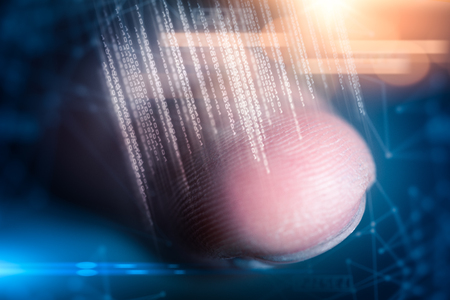 The abstract image of the fingerprint overlay with futuristic binary code hologram. the concept of fingerprint, biometric, information technology and cyber security. Banco de Imagens