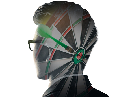 The double exposure image of the businessman standing overlay with dart board image and white copy space. the concept of goal, strategic, planning, management, intelligence and future.