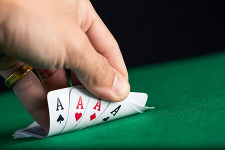 the play cards laying on the poker table in casino Banco de Imagens