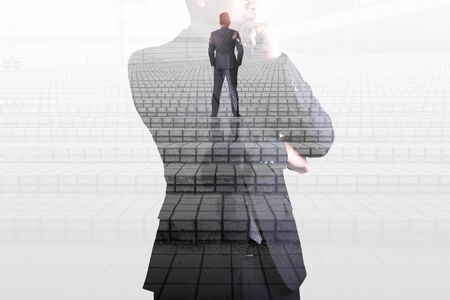 the double exposure image of the busnessman walk up the stairs on the overlay with businessman image. The concept of constructions, city, engineering and future. Stock Photo