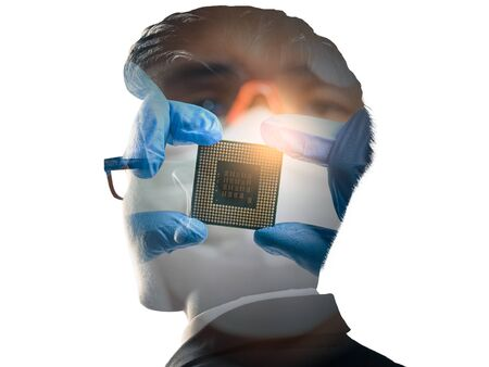 The double exposure image of the businessman standing overlay with the CPU installing image. the concept of AI, electronics, intelligence, technology and internet of things.