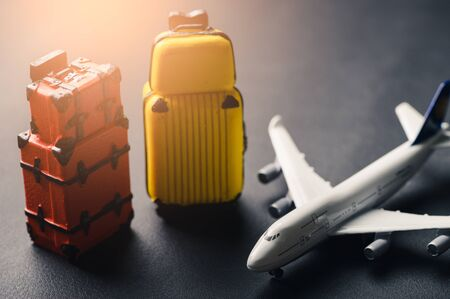 the abstract image of the airplane and luggage model laying on the table. the concept of travel, business, aircraft, international and transportations.