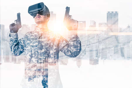 The abstract double exposure image of gamer using a smart glasses or vr glasses overlay with virtual hologram image. the concept of communication, internet of things and future life.