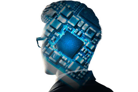 the businessman image overlay with the microchip the concept of artificial intelligence, future, telecommunication and technology.