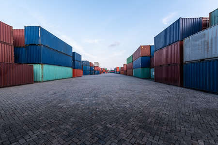 the background image of the container yard