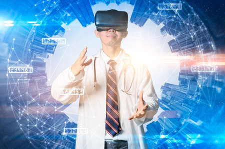the doctor wearing the VR goggles and overlay with the futuristic hologram. the concept of coronavirus, pandemic and future.