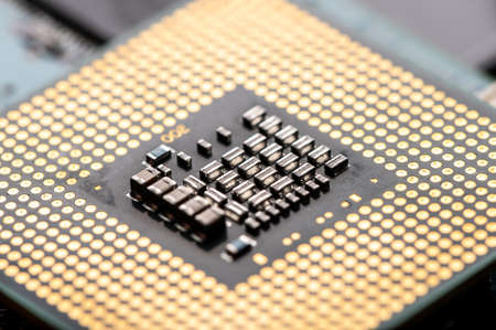 the close up image of the CPU chipset. the concept of the computer, electronics, hardware, Artificial intelligence and technology