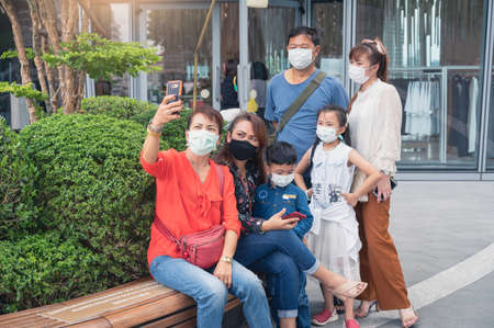 the family vacations diring the coronavirus pandemic situation. the concept of coronavirus, pandemic, production and healthcare.