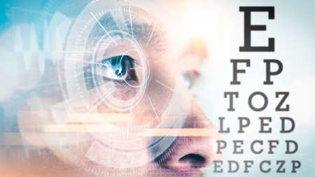 the man looking to the dynamic visual acuity test chart. the concept of visual, optical, eyeglasses and medical