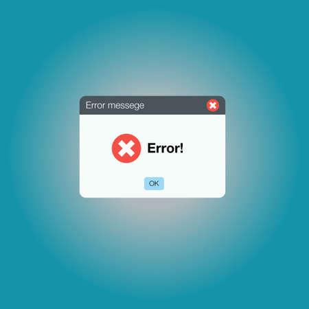 Error message computer window alert popup. Vector Illustratie