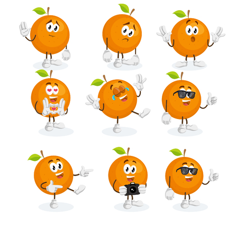All Set orange icon mascot and background with flat design style for your icon or mascot branding. Illustration