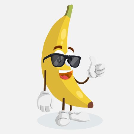 Maskotka Banana Logo i kciuk w tle poza z płaską konstrukcją dla Twojego logo lub marki maskotki.