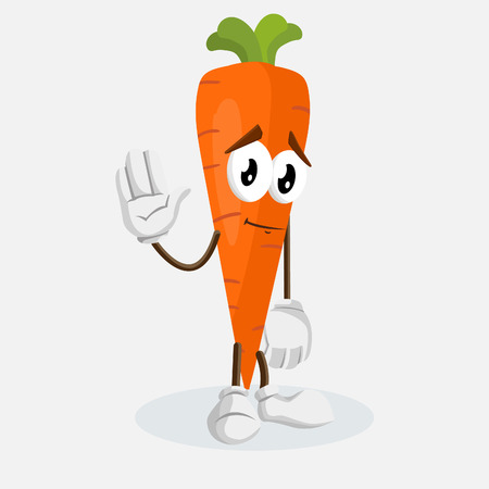 Carrot mascot and background goodbye pose with flat design style for your mascot branding.