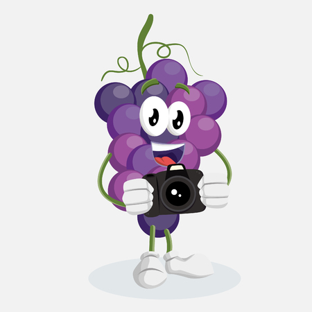 Grape icon mascot and background with camera pose with flat design style for your icon or mascot branding