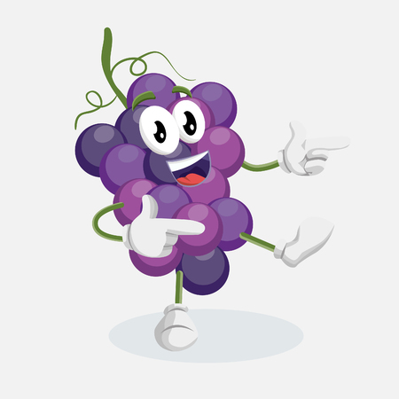 Grape icon mascot and background Hi pose with flat design style for your icon or mascot branding