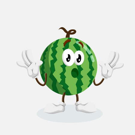 Watermelon mascot and background surprise pose with flat design style for your icon or mascot branding