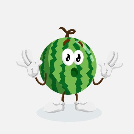 Watermeloen mascotte en achtergrond verrassing poseren met platte ontwerpstijl voor uw pictogram of mascotte branding Stockfoto - 92601839