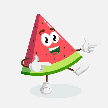 Watermelon mascot and background Hi pose with flat design style for your mascot branding. Ilustração