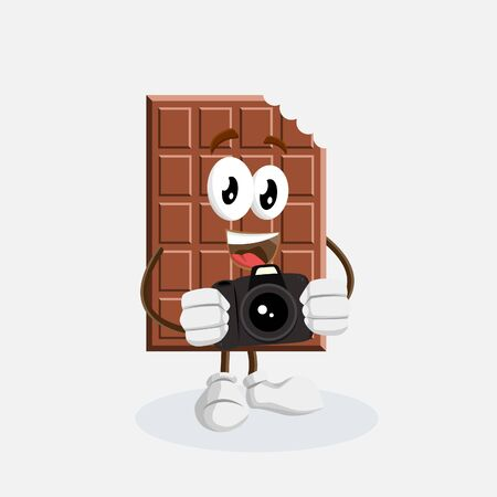 Chocolate mascot and background with camera pose with flat design style for your mascot branding.