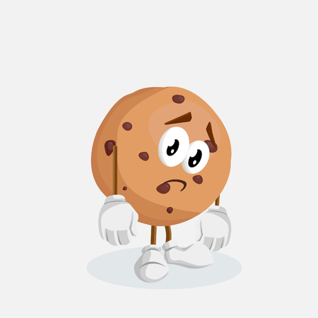 Cookies mascot and background sad pose with flat design style for your mascot branding.