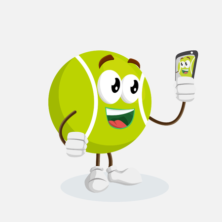 Tennis mascot and background with selfie pose with flat design style for your mascot branding.