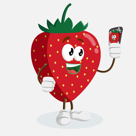 Strawberry mascot and background  with selfie pose with flat design style for your mascot branding.