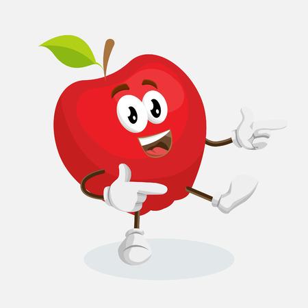 Mascotte Apple et arrière-plan Salut pose avec un style de design plat pour votre marque de mascotte.