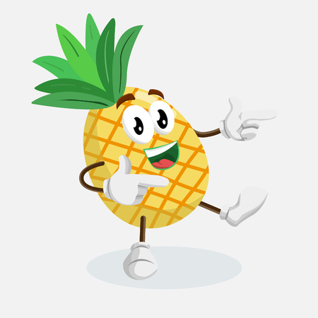 Pineapple mascot and background Hi pose with flat design style for your mascot branding. Illustration