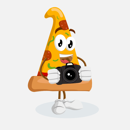 Pizza mascot and background with camera pose with flat design style for your mascot branding.